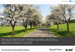 DAS ALSO MICROSOFT ONLINE MEETING «NUTSHELL» April