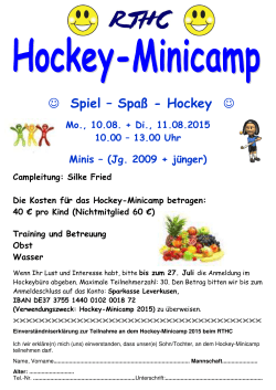 Hockey-Mini-Camp 10. - 11.08. 2015
