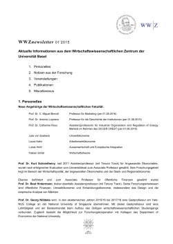 WWZnewsletter - Universität Basel