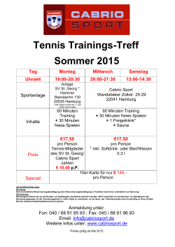 Tennis Trainings-Treff Sommer 2015
