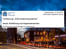 Dr.-Ing. Erik Buchmann - Information Systems Group