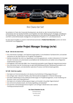 Ihre Chance bei Sixt! Junior Project Manager Strategy