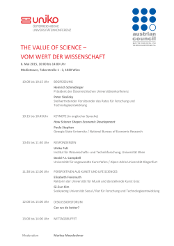 the value of science – vom wert der wissenschaft