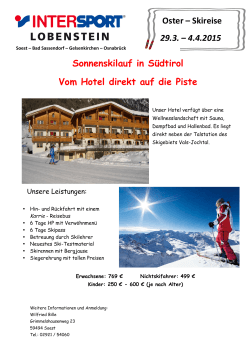 Oster Skireise Flyer - Intersport Lobenstein