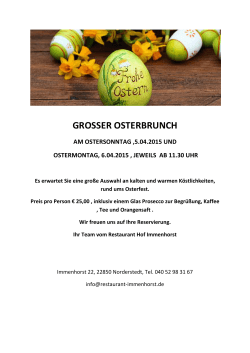 GROSSER OSTERBRUNCH - Restaurant Hof Immenhorst