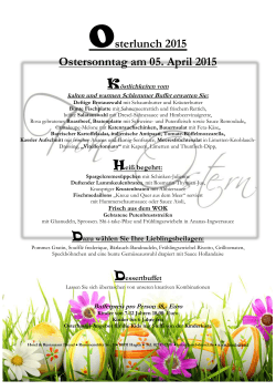 Osterlunch 2015 Ostersonntag am 05. April 2015