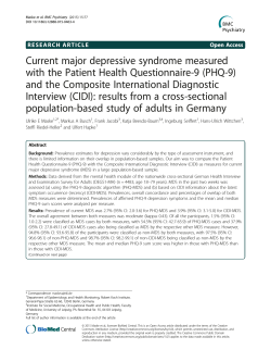 Current major depressive syndrome measured with the Patient
