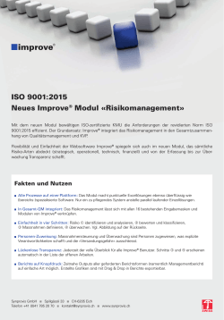 ISO 9001:2015 Neues Improve® Modul