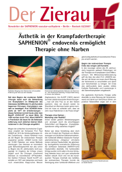 Ästhetik in der Krampfadertherapie SAPHENION