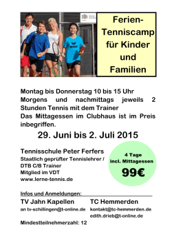 Flyer Tenniscamp 2015