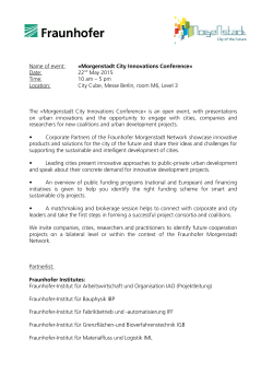 Name of event: »Morgenstadt City Innovations Conference« Date