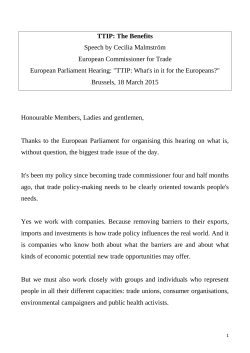 TTIP: The Benefits Speech by Cecilia Malmström European