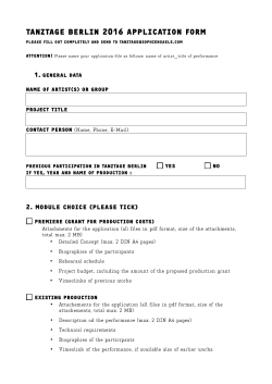 TANZTAGE BERLIN 2016 APPLICATION FORM