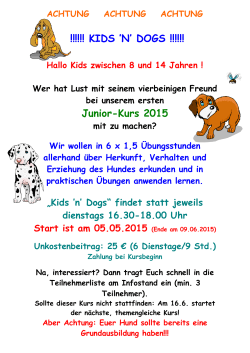 KIDS `N` DOGS !!!!!! Junior-Kurs 2015