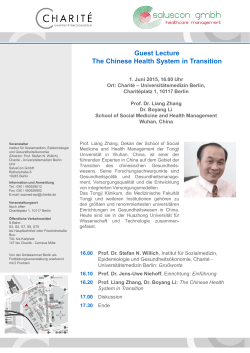 Guest Lecture The Chinese Health System in Transition