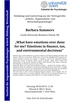 "Barbara Summers ""What have emotions ever done for me"
