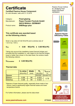 Certified Passive House Component Fixed glazing Pazen Fenster+