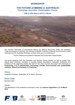 WORKSHOP THE FUTURE of MINING in AUSTRALIA