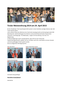 Tiroler Meisterehrung 2014 am 24. April 2015
