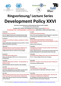 Ringvorlesung/ Lecture Series Development Policy XXVI - SID
