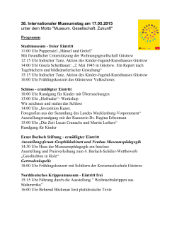 38. Internationaler Museumstag am 17.05.2015 unter dem Motto