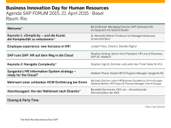 Business Innovation Day for Human Resources Agenda SAP FORUM 2015