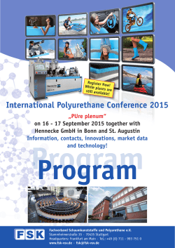 FSK International Polyurethane Conference 2015 to fill out