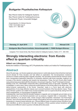 Abstract Strongly interacting electrons: from Kondo effect to quantum