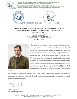 Mr. Filippo Segato - World Migratory Bird Day