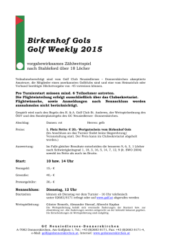 Birkenhof Gols Golf Weekly 2015