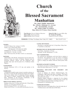 May 31st, 2015 - The Church of the Blessed Sacrament