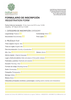 FORMULARIO DE INSCRIPCIÓN REGISTRATION FORM