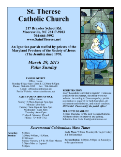 March 29, 2015 - St. Therese Catholic Church