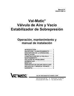 Manual No - Val-Matic Valve and Manufacturing Corp.