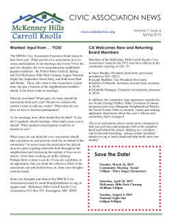 CIVIC ASSOCIATION NEWS - McKenney Hills