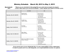 Ministry Schedule March 28, 2015 to May 3, 2015