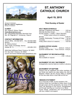 April 19, 2015 St Anthony Florence SC bulletin