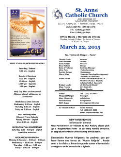 March 22, 2015 - St. Anne Catholic Community