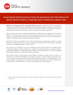 Grupo Sports World anuncia el inicio de operaciones del club