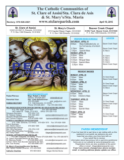 Bulletin 15.4.19 - St. Clare Parish
