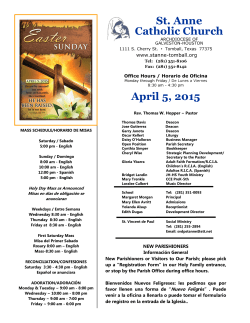 April 5, 2015 - Saint Anne Catholic Community