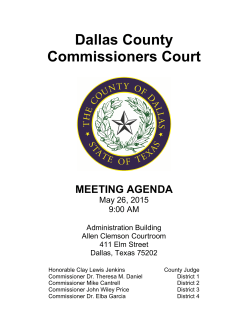 Dallas County Commissioners Court MEETING AGENDA