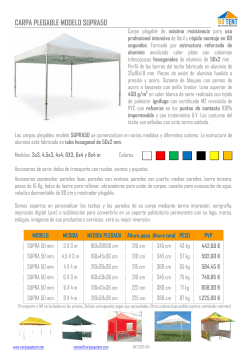 carpa plegable modelo supra50