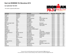 Start List IRONMAN 70.3 Barcelona 2015