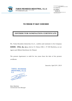 DISTRIBUTOR NOMINATION CERTIFICATE