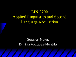 LIN 5700 Applied Linguistics and Second Language