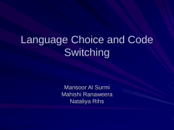 Language Choice and Code Switching