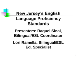 New Jersey` English Language Proficiency Standards