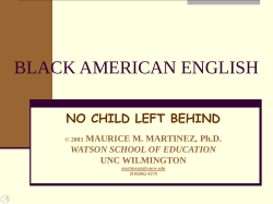 BLACK AMERICAN ENGLISH - People Server at UNCW