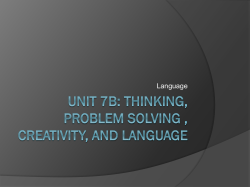 Unit 7B: Thinking, Problem Solving , Creativity,